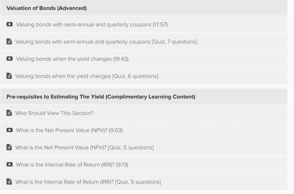 Bond Valuation Course - Curriculum 3
