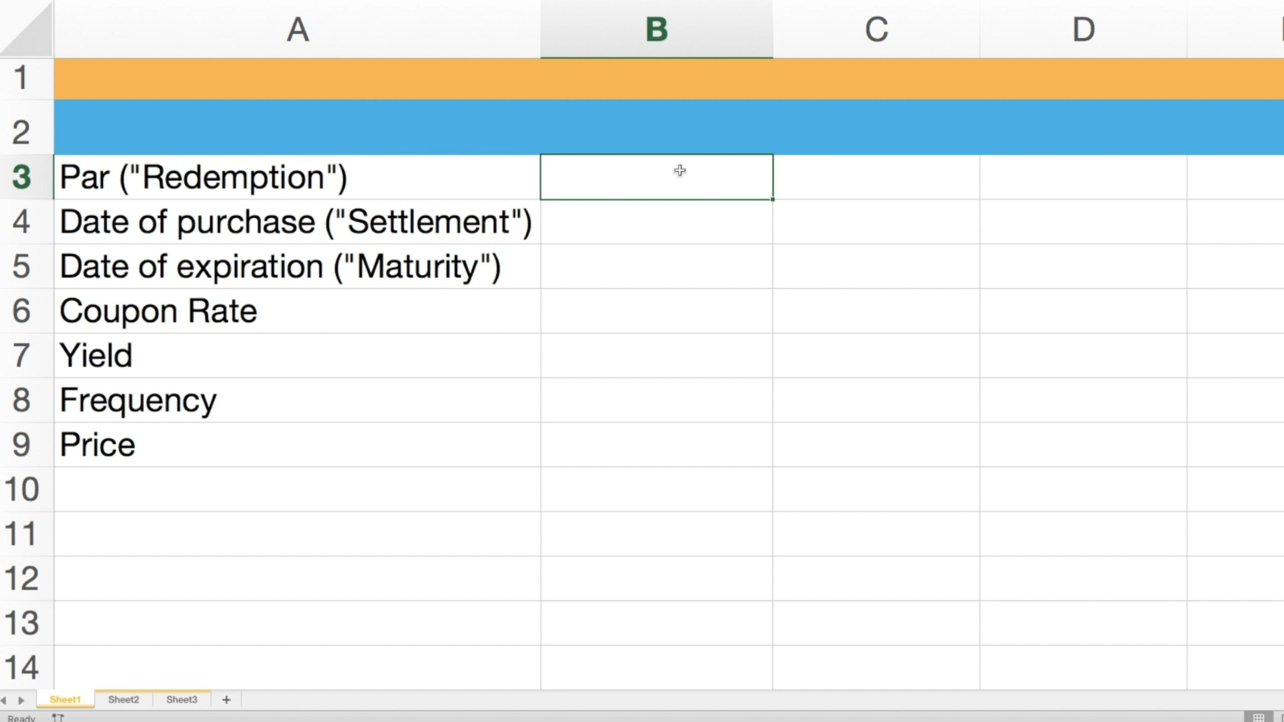 Screenshot showcasing the setup for valuing a zero coupon bond on Excel