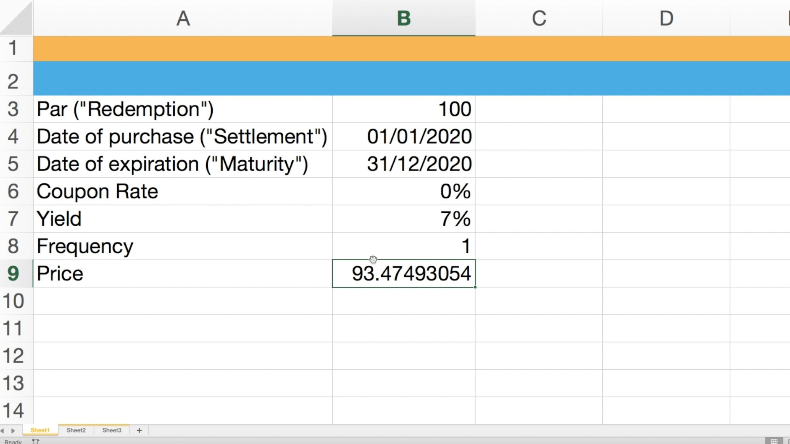 Screenshot showcasing the estimate for the zero coupon bond using Excel