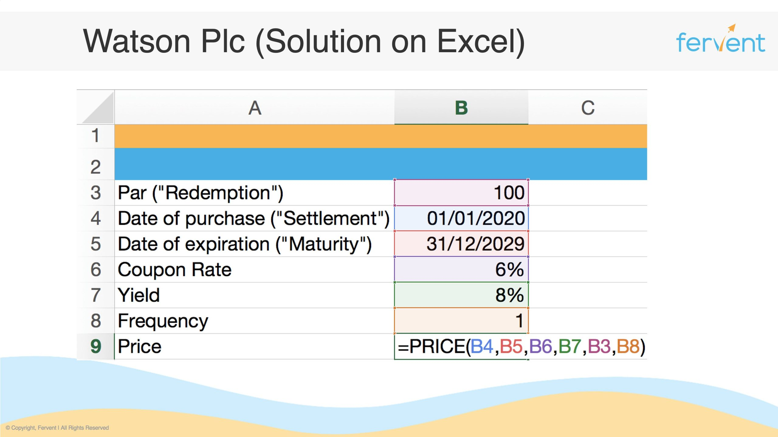 Slide showcasing how to value bonds on Excel