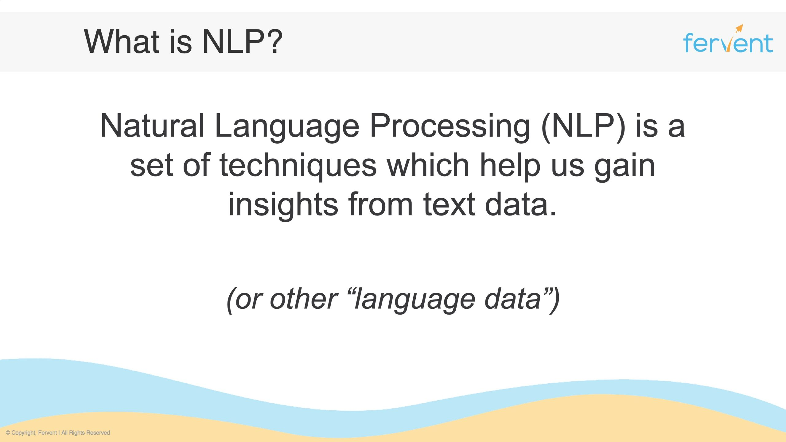 Slide showcasing what NLP for Finance is