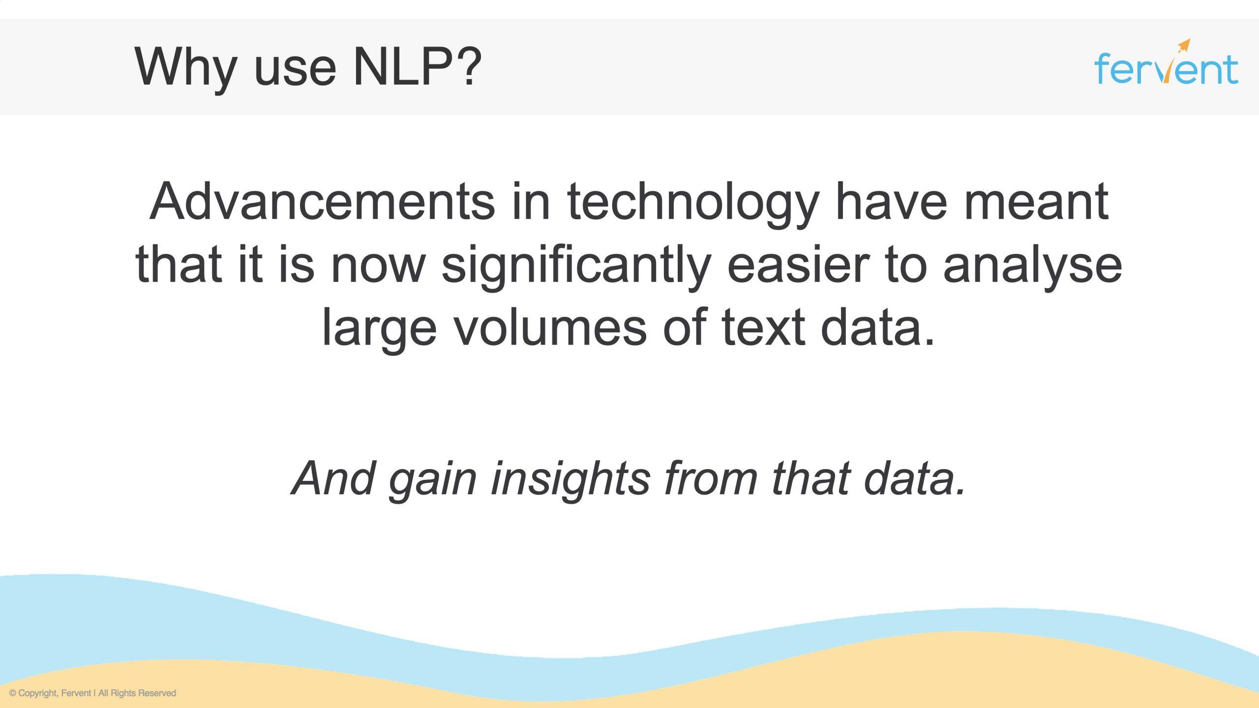 Slide showcasing why using NLP for Finance makes sense