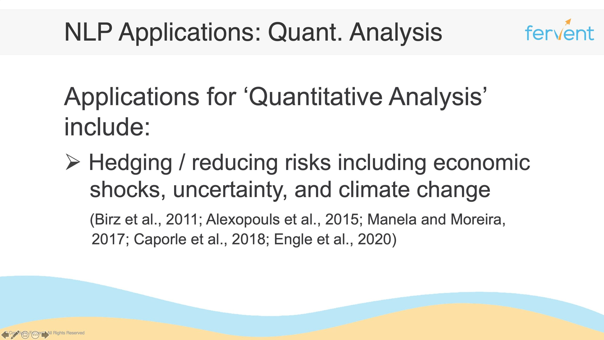 Slide showcasing NLP Applications in Finance for Quantitative Analysis