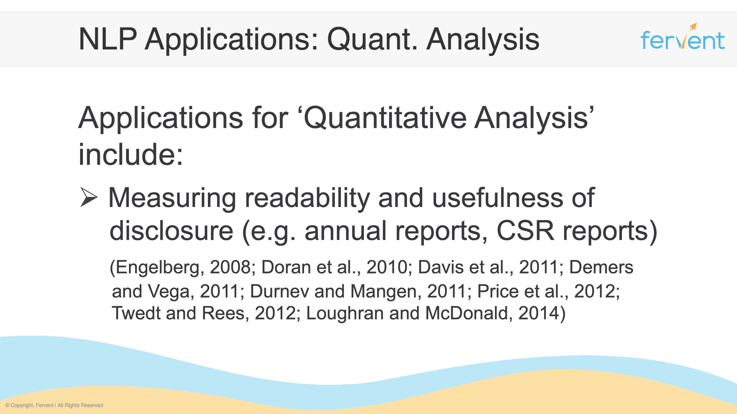 Slide showcasing further applications in Quantitative Analysis